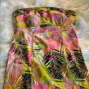 H &M strapless tropical print dress